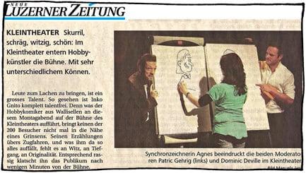 Entertainer Agnes, bekannt für Porträt zeichnen und Messeanimation, zeigt ihre Zweihandshow im Kleintheater Luzern.