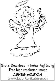 Engel, Blume, Wolke, Heiligenschein, Thumbnail, Agnes Live-Karikaturen, Download, kostenlos, Gratisbild, Free image, Clipart, Comic, Cartoon, Illustration