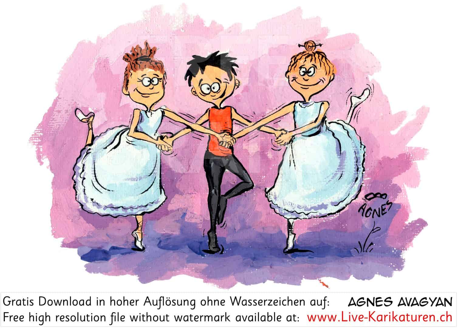Ballett, klassischer, Tanz, Ballerina, Ballettschule, Ensemble, Taenzer, Agnes, Karikaturen, gratis, free, Clipart, Comic, Cartoon, Zeichnung, Agnes Live-Karikaturen, Download, kostenlos, Gratisbild, Free image, Clipart, Comic, Cartoon, Illustration, Watermark UHD