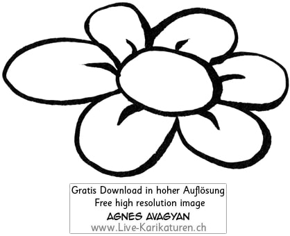 Blume Bluete ohne Stengel Flower simpel schwarzweiss black and white Cartoon Comic Karikatur Clipart Zeichnung Bild Illustration image painting kostenlos Gratisbild free image, Thumbnail