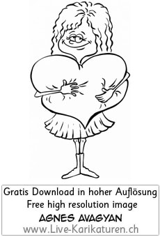 Girl Herz verliebt Liebe Maedchen Frau romantisch Valentinstag Romantik lange Haare Rock Love Agnes Karikaturen gratis free Clipart Comic Cartoon Zeichnung bw, Thumbnail