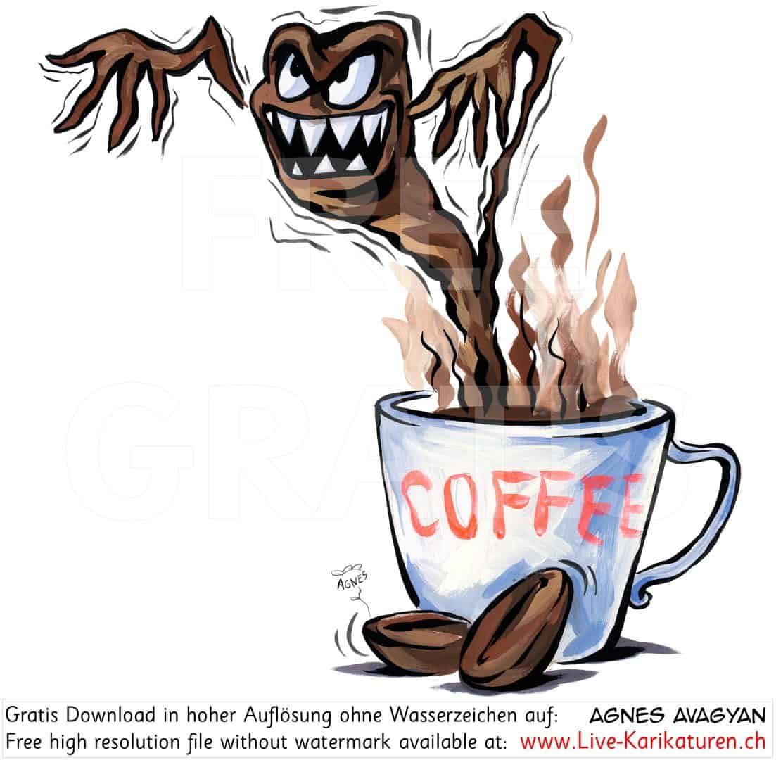 kaffee coffein monster wachmacher agnes live karikaturen. Black Bedroom Furniture Sets. Home Design Ideas