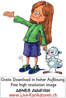 Maedchen Girl herzig Kind Stofftier Freunde Discman Kinderbuch lange Haare Kind Willkommen Welcome zeigen Agnes Karikaturen Cartoon Comic Karikatur Clipart Zeichnung Illustration painting gratis kostenlos free color, Thumbnail