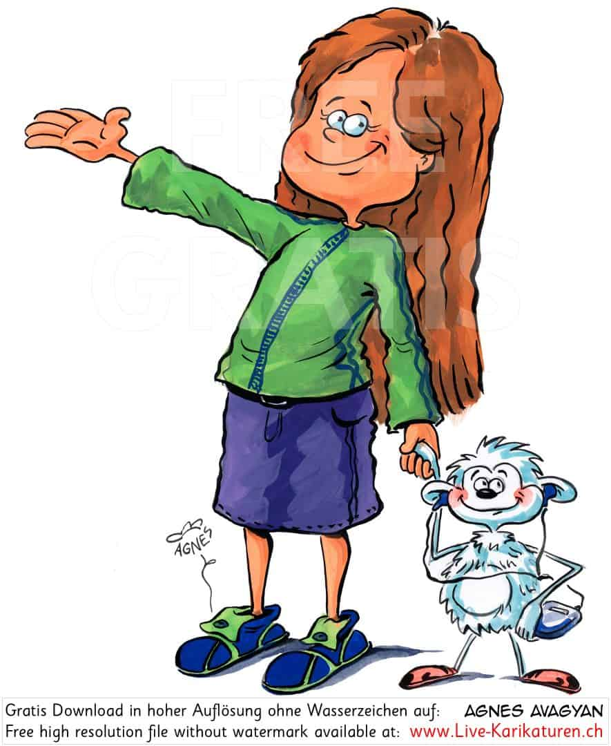 Maedchen Girl herzig Kind Stofftier Freunde Discman Kinderbuch lange Haare Kind Willkommen Welcome zeigen Agnes Karikaturen Cartoon Comic Karikatur Clipart Zeichnung Illustration painting gratis kostenlos free color, Watermark UHD