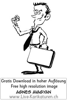 Krawatte Office Business Chef Vorgesetzter Boss Manager office worker business presentation zufrieden Aktentasche Finger prima tip top happy schwarzweiss black and white Cartoon Comic Karikatur Clipart Zeichnung Bild Illustration image painting kostenlos Gratisbild free image, Thumbnail