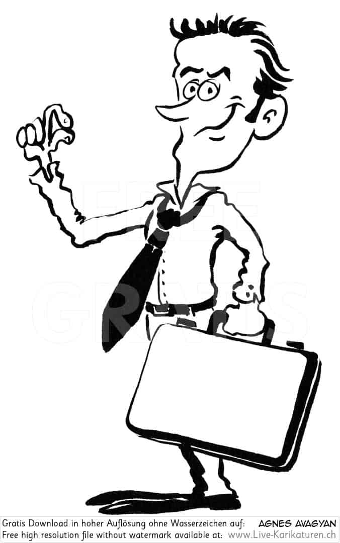 Krawatte Office Business Chef Vorgesetzter Boss Manager office worker business presentation zufrieden Aktentasche Finger prima tip top happy schwarzweiss black and white Cartoon Comic Karikatur Clipart Zeichnung Bild Illustration image painting kostenlos Gratisbild free image, watermark UHD