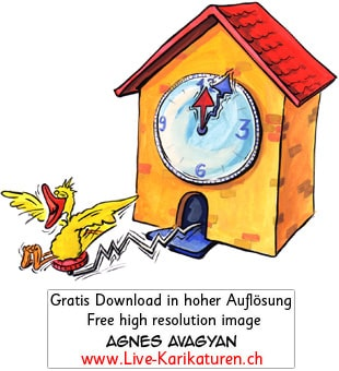 Uhr, Kuckucksuhr, Zeit, Vogel, Schwarzwalduh, Uhrzeit, Watch, Souvenir, Wanduhr, 12 Uhr, Wecker, Zeitangabe, Uhrwerk, Uhrmacher, Agnes Live-Karikaturen, Download, kostenlos, Gratisbild, Free image, Clipart, Comic, Cartoon, Illustration, Thumbnail