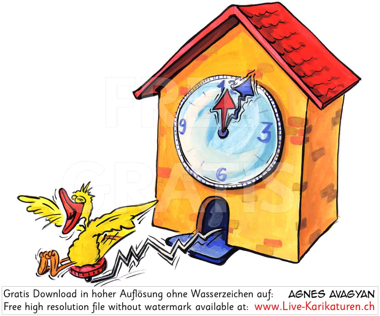 Uhr, Kuckucksuhr, Zeit, Vogel, Schwarzwalduh, Uhrzeit, Watch, Souvenir, Wanduhr, 12 Uhr, Wecker, Zeitangabe, Uhrwerk, Uhrmacher, Agnes Live-Karikaturen, Download, kostenlos, Gratisbild, Free image, Clipart, Comic, Cartoon, Illustration, Watermark Large