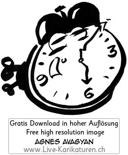Uhr Wecker Alarm watch clock time 6 Uhr schwarz altmodisch Augen Aufzieh schwarzweiss black and white Cartoon Comic Karikatur Clipart Zeichnung Bild Illustration image painting kostenlos Gratisbild free image, Thumbnail