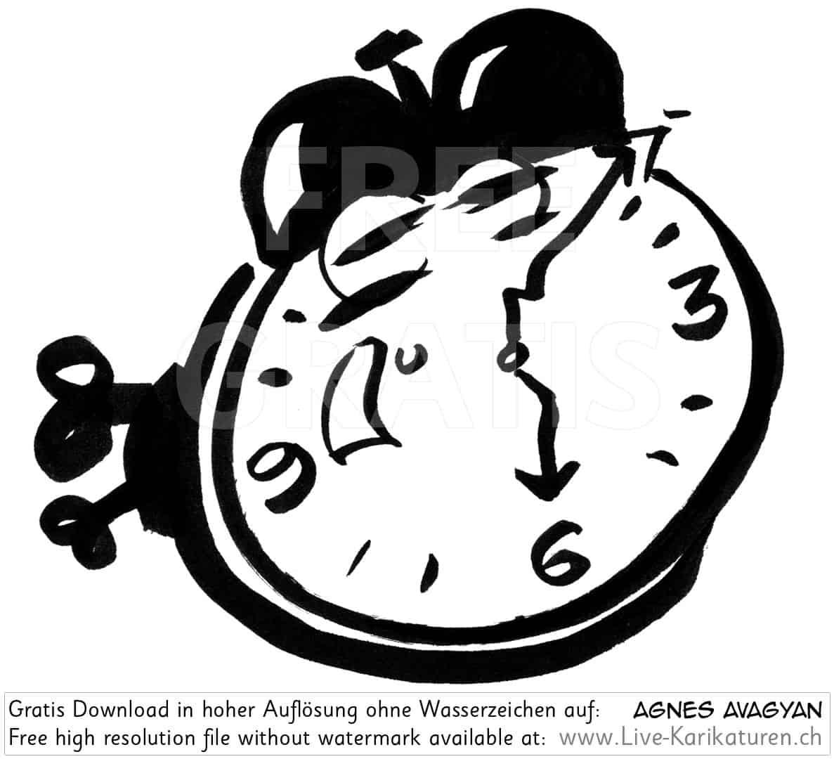 Uhr Wecker Alarm watch clock time 6 Uhr schwarz altmodisch Augen Aufzieh schwarzweiss black and white Cartoon Comic Karikatur Clipart Zeichnung Bild Illustration image painting kostenlos Gratisbild free image, Watermark HD FullHD