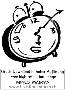 Uhr Wecker Alarm watch clock time Augen 6 Uhr Zeiger Uhrzeit schwarzweiss black and white Cartoon Comic Karikatur Clipart Zeichnung Bild Illustration image painting kostenlos Gratisbild free image, Thumbnail