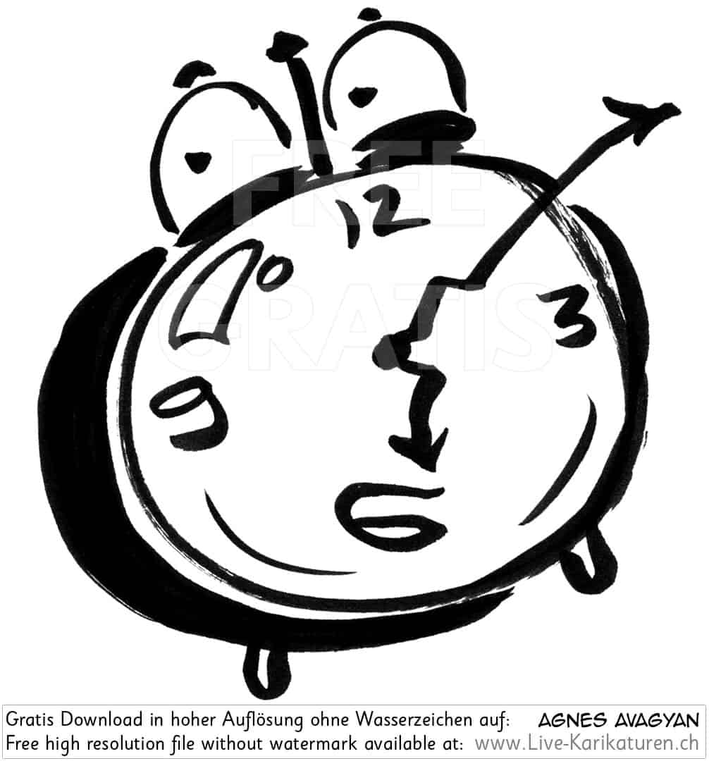 Uhr Wecker Alarm watch clock time Augen 6 Uhr Zeiger Uhrzeit schwarzweiss black and white Cartoon Comic Karikatur Clipart Zeichnung Bild Illustration image painting kostenlos Gratisbild free image, Watermark Large