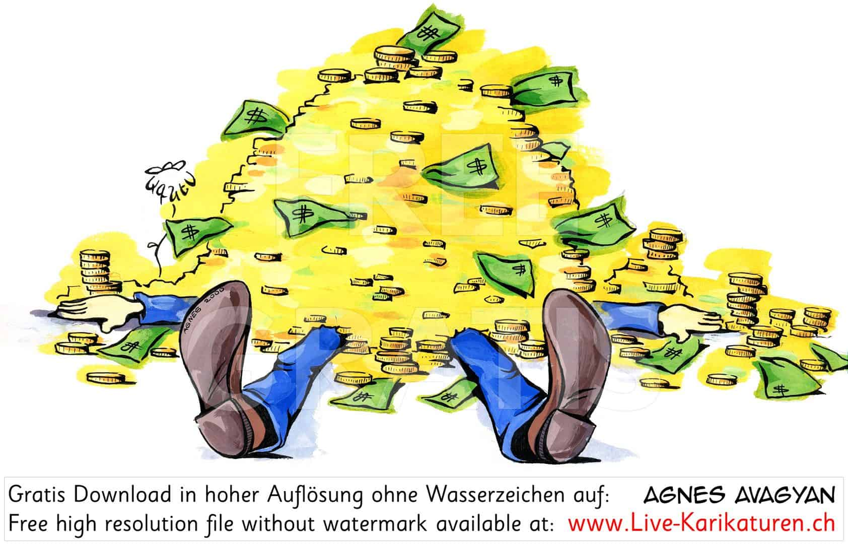 Geld erschlagen Muenzen Noten reich Reichtum Gier Kredit Manager Banker Abzocker Dollar Opfer Masslosigkeit Geldberg Gold Agnes Karikaturen gratis free Clipart Comic Cartoon Zeichnung c
