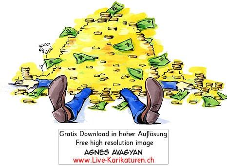 Geld erschlagen Muenzen Noten reich Reichtum Gier Kredit Manager Banker Abzocker Dollar Opfer Masslosigkeit Geldberg Gold Agnes Karikaturen gratis free Clipart Comic Cartoon Zeichnung c