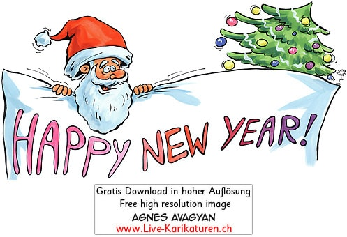 Happy New Year Tannenbaum Weihnachtsmann Santa Claus Sylvester Neujahr Schild Glueckwunsch rote Muetze Bart Agnes Live-Karikaturen, Download, kostenlos, Gratisbild, Free image, Clipart, Comic, Cartoon, Illustration, Cartoon, Comic, Karikatur, Clipart, Zeichnung, Bild, Illustration, image, painting, kostenlos, Kunst, Kunsthandwerk, Geschenkidee, Kuenstler, Live Karikaturist, Comiczeichner, Armenian Artist from Yerevan