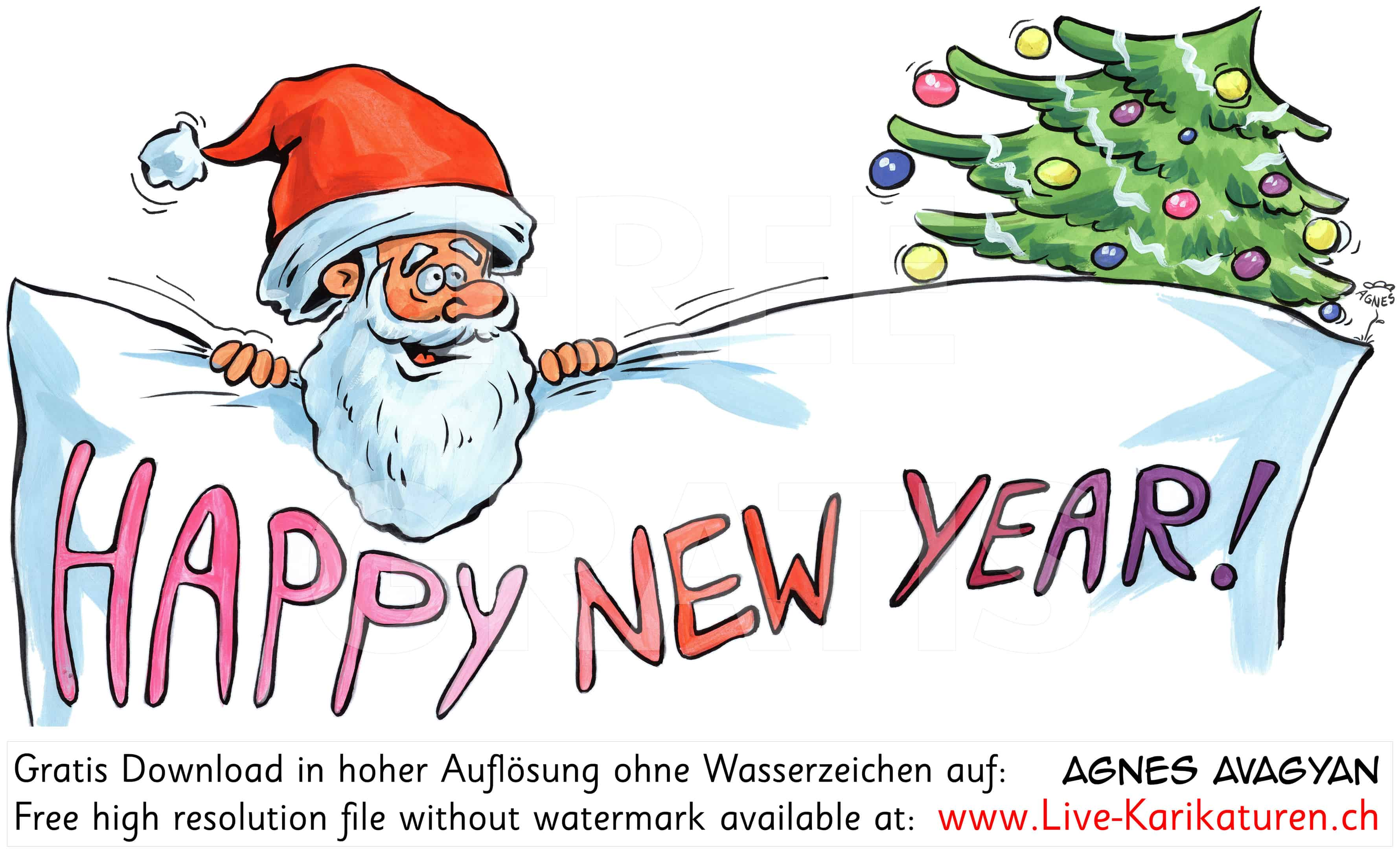 weihnachten happy new year agnes live karikaturen. Black Bedroom Furniture Sets. Home Design Ideas