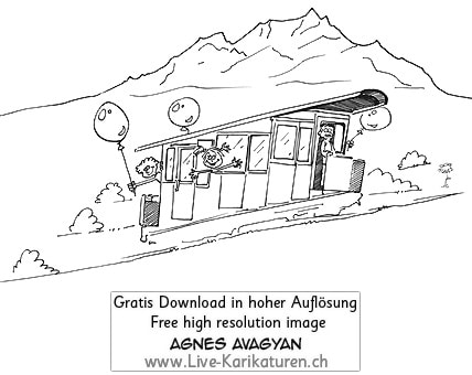 Kriens Sonnenbergbahn Sonnenberg Baehnli Pilatus Ausflug Kinder Schulreise Luzern Ballon Bergstation antik Bahn Agnes Live-Karikaturen, Download, kostenlos, Gratisbild, Free image, Clipart, Comic, Cartoon, Illustration, Cartoon, Comic, Karikatur, Clipart, Zeichnung, Bild, Illustration, image, painting, kostenlos, Kunst, Kunsthandwerk, Geschenkidee, Kuenstler, Live Karikaturist, Comiczeichner, Armenian Artist from Yerevan
