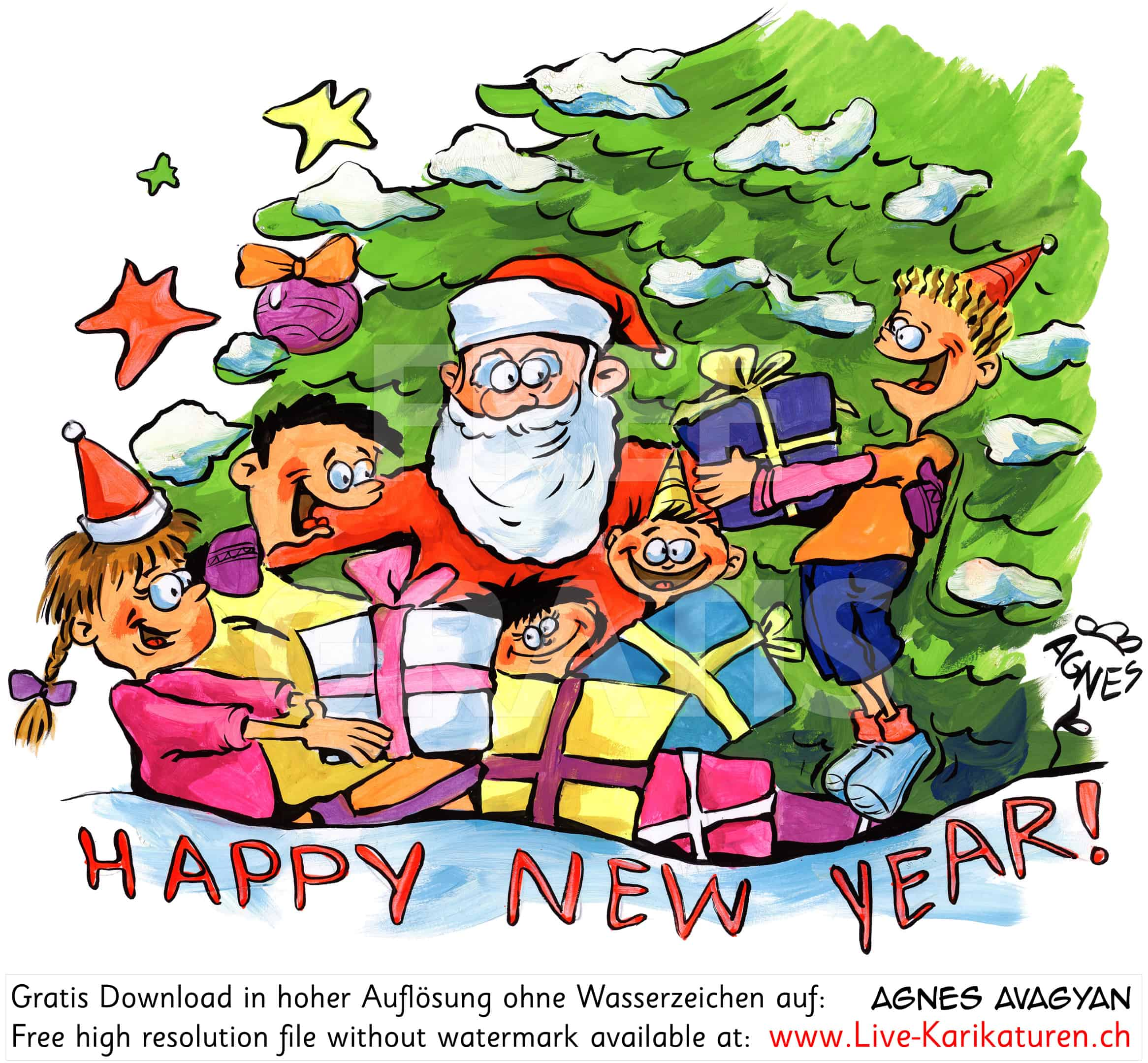 Weihnachtsmann Happy New Year Kinderfest - Agnes Live-Karikaturen ...