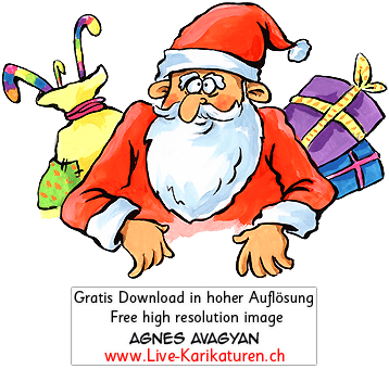 Weihnachtsmann Santa Claus Geschenke Zuckerstange rote Muetze weisser Bart Weihnachten Agnes Live-Karikaturen, Download, kostenlos, Gratisbild, Free image, Clipart, Comic, Cartoon, Illustration, Cartoon, Comic, Karikatur, Clipart, Zeichnung, Bild, Illustration, image, painting, kostenlos, Kunst, Kunsthandwerk, Geschenkidee, Kuenstler, Live Karikaturist, Comiczeichner, Armenian Artist from Yerevan