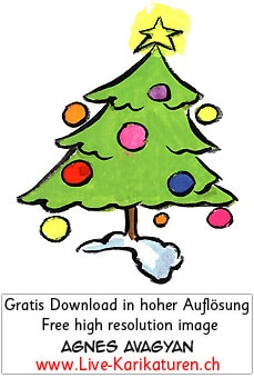 Tannenbaum gruen Weihnachtsbaum Weihnachtsschmuck Christbaumkugeln gelber Stern Girlanden Lametta Schnee Agnes Live-Karikaturen, Download, kostenlos, Gratisbild, Free image, Clipart, Comic, Cartoon, Illustration, Cartoon, Comic, Karikatur, Clipart, Zeichnung, Bild, Illustration, image, painting, kostenlos, Kunst, Kunsthandwerk, Geschenkidee, Kuenstler, Live Karikaturist, Comiczeichner, Armenian Artist from Yerevan