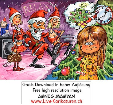 Weihnachtsmann Santa Claus betrunken Kind Illusion Enttäuschung Frauen Party Girls Luxus Kommerz Weihnachten Geschenke Restaurant Relax Maedchen weinen traurig Christbaum Tannenbaum Agnes Live-Karikaturen, Download, kostenlos, Gratisbild, Free image, Clipart, Comic, Cartoon, Illustration, Cartoon, Comic, Karikatur, Clipart, Zeichnung, Bild, Illustration, image, painting, kostenlos, Kunst, Kunsthandwerk, Geschenkidee, Kuenstler, Live Karikaturist, Comiczeichner, Armenian Artist from Yerevan