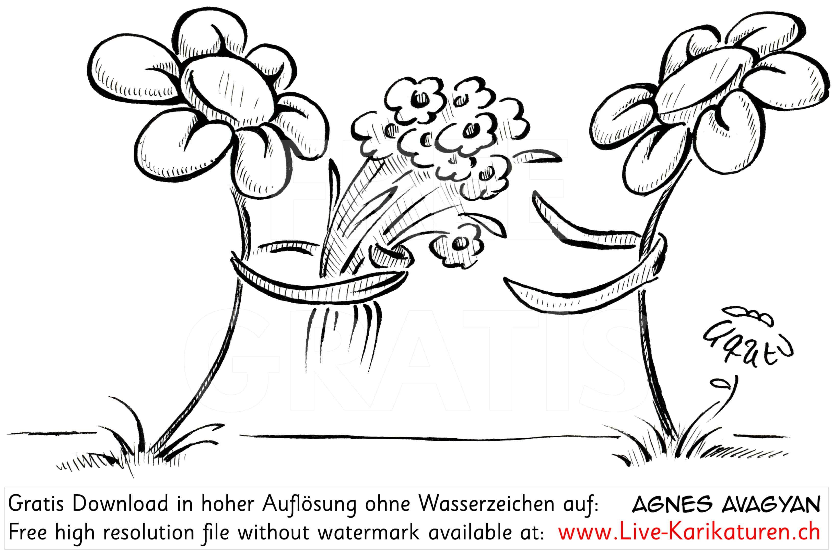 Blume schenkt anderer Blume Blumenstrauss Liebe romantisch Romantik mit Armen zwei Blumen schwarzweiss Agnes Karikaturen gratis free Clipart Comic Cartoon Zeichnung Illustration transparent PNG