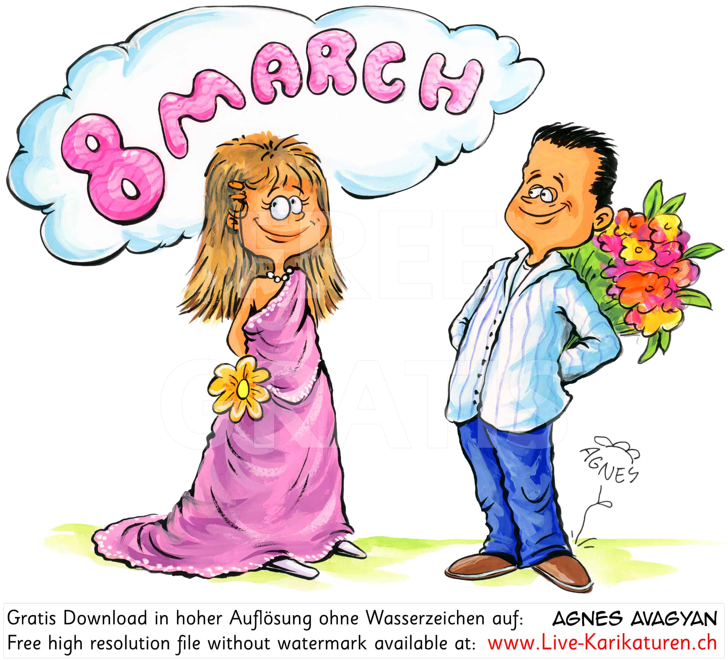Frauentag Weltfrauentag 8. Maerz 8. March Feier Feiertag Frau Blumen Geschenk herzig schoenes Kleid Mann Agnes Karikaturen gratis free Clipart Comic Cartoon Zeichnung Illustration transparent PNG