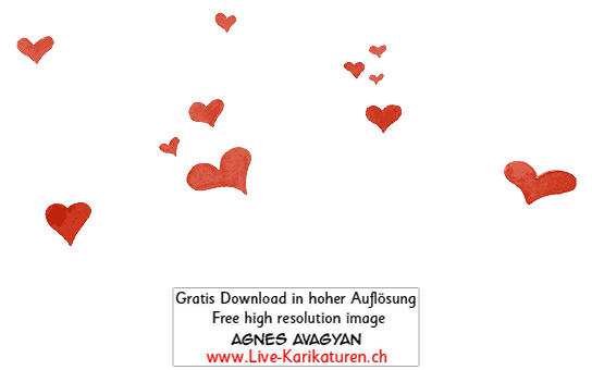 Herz Herzchen Herzen handgezeichnet handgemalt rot Gruppe Hochzeit Valentinstag Agnes Live-Karikaturen Karikaturistin Cartoon Comic Karikatur Clipart Zeichnung handgezeichnet gemalt Bild Illustration image painting Download kostenlos Gratisbild free image