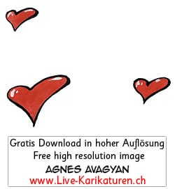 Herz Herzchen Herzen handgezeichnet handgemalt rot farbig Gruppe Hochzeit Valentinstag Agnes Live-Karikaturen Karikaturistin Cartoon Comic Karikatur Clipart Zeichnung handgezeichnet gemalt Bild Illustration image painting Download kostenlos Gratisbild free image