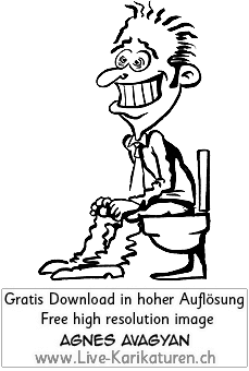 WC, Toilette, Klo, Abort, Mann, happy, gluecklich, Grinsen, dringend, Agnes Live-Karikaturen, Clipart, Comic, Cartoon, Illustration, Cartoon, Comic, Karikatur, Zeichnung, Download, kostenlos, Gratisbild, gratis, free, Kunst, Kuenstler, Live Karikaturist, Comiczeichner, Armenia