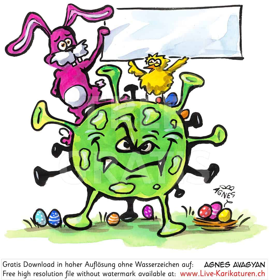 Virus, Corona, Covid-19, Covid19, Ostern, abgesagt, Krankheit, Seuche, Pest, Epidemie, Pandemie, global, 2020, China, Korona, Agnes Live-Karikaturen, Clipart, Comic, Cartoon, Illustration, Cartoon, Comic, Karikatur, Zeichnung, Download, kostenlos, Gratisbild, gratis, free, Kunst, Kuenstler, Live Karikaturist, Comiczeichner, Armenia