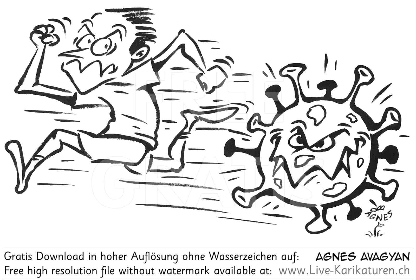 Virus Corona Covid-19 Viren schwarzweiss Sprint rennen Agnes Live-Karikaturen, Clipart, Comic, Cartoon, Illustration, Cartoon, Comic, Karikatur, Zeichnung, Download, kostenlos, Gratisbild, gratis, free, Kunst, Kuenstler, Live Karikaturist, Comiczeichner, Armenia