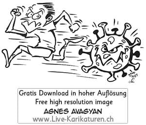 Virus Corona Covid-19 Viren schwarzweiss rennen Sprint Agnes Live-Karikaturen, Clipart, Comic, Cartoon, Illustration, Cartoon, Comic, Karikatur, Zeichnung, Download, kostenlos, Gratisbild, gratis, free, Kunst, Kuenstler, Live Karikaturist, Comiczeichner, Armenia