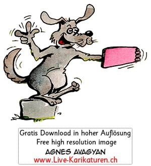 Hund, grau, Selfie, Handy, Foto, Strassenkoeter, Schnitzelbaenke, Urbi@Orbi, Luzerner Fasnacht, Agnes Live-Karikaturen, Clipart, Comic, Cartoon, Illustration, Cartoon, Comic, Karikatur, Zeichnung, Download, kostenlos, Gratisbild, gratis, free, Kunst, Kuenstler, Live Karikaturist, Comiczeichner, Armenia