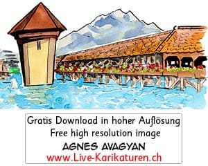 Luzern, Kapellbruecke, Reuss, Fluss, Pilatus, Geranien, Sommer, Tourismus, Leuchtenstadt, Schnitzelbaenke, Urbi@Orbi, Luzerner Fasnacht, Agnes Live-Karikaturen, Clipart, Comic, Cartoon, Illustration, Cartoon, Comic, Karikatur, Zeichnung, Download, kostenlos, Gratisbild, gratis, free, Kunst, Kuenstler, Live Karikaturist, Comiczeichner, Armenia