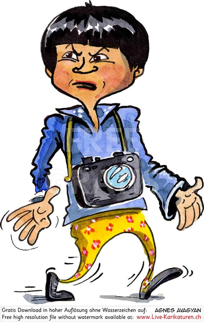 Tourist, Asiate, Fotokamera, schlechte Lauen, wuetend, Luzern, schwarze Haare, Korea, Chinese, Japaner, gelbe Hosen, lustig, Schnitzelbaenke, Urbi@Orbi, Luzerner Fasnacht, Agnes Live-Karikaturen, Clipart, Comic, Cartoon, Illustration, Cartoon, Comic, Karikatur, Zeichnung, Download, kostenlos, Gratisbild, gratis, free, Kunst, Kuenstler, Live Karikaturist, Comiczeichner, Armenia