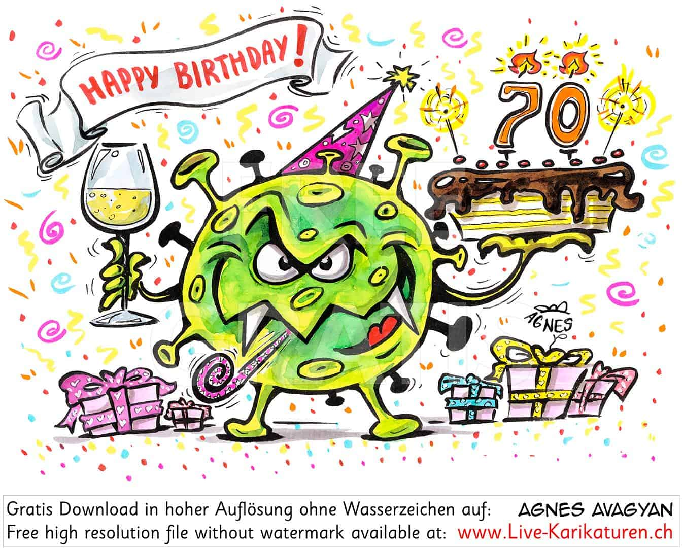 Virus, Corona, Covid-19, Geburtstag, Kuchen, Torte, Happy Birthday, Jahre, Ziffer, Zahl, Korona, Agnes Live-Karikaturen, Clipart, Comic, Cartoon, Illustration, Cartoon, Comic, Karikatur, Zeichnung, Download, kostenlos, Gratisbild, gratis, free, Kunst, Kuenstler, Live Karikaturist, Comiczeichner, Armenia