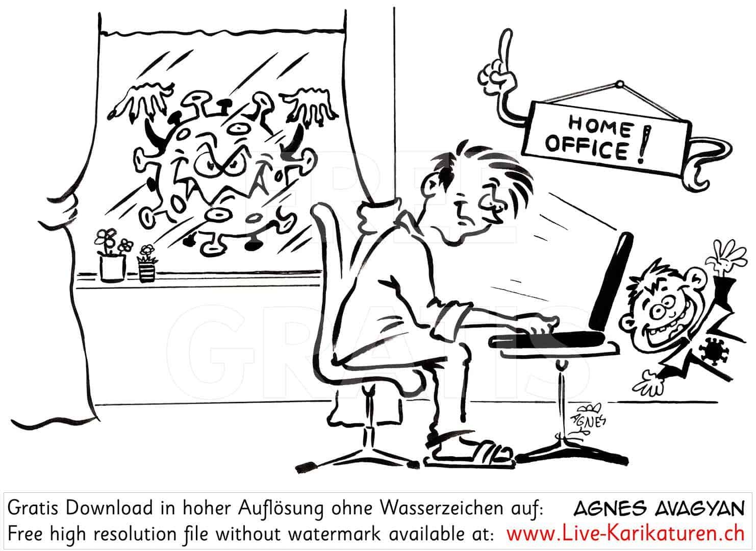 Virus, Corona, Covid-19, Covid19, Homeoffice, Home Office, Kinder, Buero, arbeiten, Kinder, Terror, Stress, Epidemie, Pandemie, 2020, Agnes Live-Karikaturen, Clipart, Comic, Cartoon, Illustration, Cartoon, Comic, Karikatur, Zeichnung, Download, kostenlos, Gratisbild, gratis, free, Kunst, Kuenstler, Live Karikaturist, Comiczeichner, Armenia